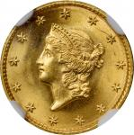 1849 Gold Dollar. Open Wreath. Small Head, No L. MS-67 (NGC).