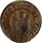 """GREAT BRITAIN. Somerset. Taunton. """"By the Constables"""" Brass Farthing Token, 1667. PCGS EF-40 Gold Sh"""