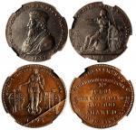 1795年英国代用币2枚一组,NGC MS62BN及AU Details