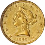 1842 Liberty Head Eagle. Small Date. AU-53 (PCGS).