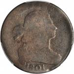 1801 Draped Bust Cent. S-219. Rarity-2. 3 Errors Reverse. AG-3 (PCGS).
