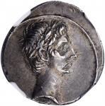 OCTAVIAN. AR Denarius (3.87 gms), Uncertain Italian mint, possibly Rome, 30-29 B.C. NGC Ch EF, Strik