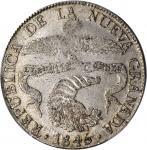 COLOMBIA. 1845-RS 8 Reales. Bogotá mint. Restrepo 194.10. AU-53 (PCGS).