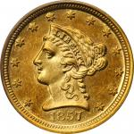 1857-D Liberty Head Quarter Eagle. MS-62 (PCGS).