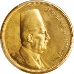 EGYPT. 500 Piastres, AH 1340 (1922). London Mint. Faud I. PCGS Genuine--Cleaned, Unc Details Gold Sh