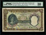 1935年有利银行50元,编号75818,PMG 30,有轻微修补,及附著物,颜色明亮,James Stewart手签签名完整清晰,罕见高分