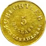 1834 (1834-1837) Christopher Bechtler $5. K-17. Rarity-5. RUTHERFORD, 140.G., 20 CARATS. Plain Edge.