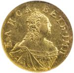 RUSSIA: Elizabeth, 1741-1761, AV poltina (½ rouble), 1756, Cr-21.1, Bit-70, one-year type, mintage o