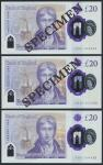 Bank of England, Sarah John, polymer £20, ND (20 February 2020), serial number AA01 002233/3344/4455