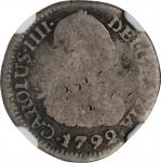 COLOMBIA. 1/2 Real, 1792-NR JJ. Nuevo Reino Mint. Charles IV. NGC AG Details--Damaged.