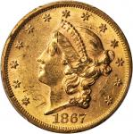 1867 Liberty Head Double Eagle. MS-60 (PCGS).
