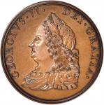 1757 King George II Indian Peace Medal. 19th-Century Restrike. Bronzed Copper. 44.5 mm. Julian IP-49