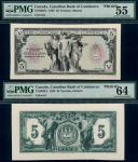 x Canadian Bank of Commerce, uniface obverse and reverse proof of $5 on card, 1935, black on green u