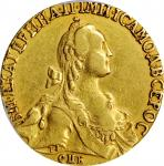 RUSSIA. 10 Rubles, 1766. St. Petersburg Mint. Catherine II (the Great). NGC EF-45 Gold Shield.