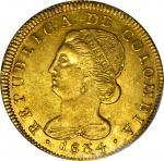 COLOMBIA. 1834-UR 8 Escudos. Popayán mint. Restrepo M166.39. AU-55 (PCGS).