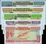 EQUATORIAL GUINEA. Banque Central de la Republique de Guinee. 50 to 5000 Francs, 1985. P-29s to 33s.