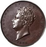 GREAT BRITAIN. Pattern 1/2 Crown Struck in Bronzed Copper, 1824. George IV (1820-30). PCGS PROOF-64