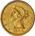 1844-O Liberty Head Half Eagle. AU-53 (PCGS).