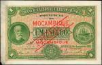 1921年莫桑比克大西洋银行1埃斯库多。样张。MOZAMBIQUE. Banco Nacional Ultramarino. 1 Escudo, 1921. P-66s. Specimen. Extr