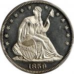 1859 Liberty Seated Half Dollar. Proof-64+ Cameo (PCGS). CAC.