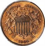 1864 Two-Cent Piece. FS-401. Small Motto. AU Details--Surfaces Smoothed (PCGS).