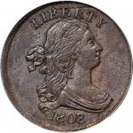 1808/7 Draped Bust Half Cent. C-2. Rarity-3. AU-53 (PCGS).