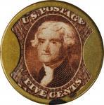 1862 John Gault. Five Cents. HB-131, EP-78, S-96, Reed-JG05. Plain Frame. Extremely Fine, Polished.