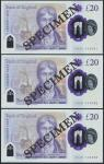 Bank of England, Sarah John, polymer £20, ND (20 February 2020), serial number AA01 000081/82/83, pu
