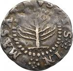 1652 Pine Tree Shilling. Small Planchet. Noe-20, Salmon 6-B, W-860. Rarity-7. VF Details--Excessivel