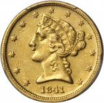 1841-D Liberty Half Eagle. Small D. EF-45 (PCGS).