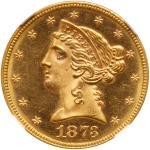 1873 $5 Liberty. Closed 3. NGC MS66