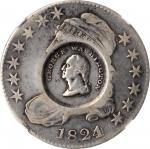 Washington / Lafayette Counterstamp on an 1824/Various Dates O-103 Capped Bust half dollar. Musante