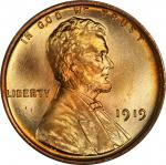1919 Lincoln Cent. MS-68 RD (PCGS).