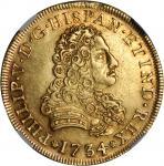 MEXICO. 8 Escudos, 1734-MoMF. Philip V (1700-46). NGC AU-55.