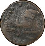 1787 New Jersey copper. Maris 71-y. Rarity-6. Plaited Mane. Overstruck on a Cast Counterfeit George