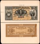 COLOMBIA. Lot of (2) Banco de Rio Hacha. 5 Pesos, 1883. P-S819p1 & S819p2. Front & Back Proof. PMG U
