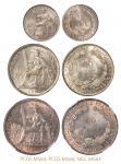 """法属安南""""坐洋""""银币三枚,NGCMS64、PCGSMS66、PCGS老盒MS64"""