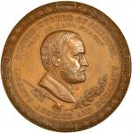 1871 Ulysses S. Grant Indian Peace Medal. Bronzed Copper. 63 mm. By Anthony C. Paquet. Julian IP-42.