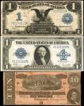Lot of (3). Confederate Currency & Silver Certificates. T-68, Fr. 236 & Fr. 238. Very Fine.