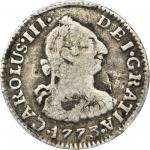 COLOMBIA. 1773-VJ 1/2 Real. Santa Fe de Nuevo Reino (Bogotá) mint. Carlos III (1759-1788). Restrepo