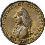 1766 Pitt Farthing Token. Betts-520, W-8345. Brass. AU-55 (PCGS).