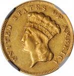 1869 Three-Dollar Gold Piece. AU-55 (NGC).
