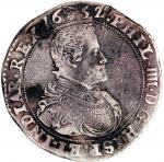 1652年西属尼德兰银币,VF以上品相,深色包浆及上方边缘有损