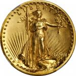 MCMVII (1907) Saint-Gaudens Double Eagle. High Relief. Wire Rim. MS-65 (NGC).