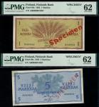 Finlands Bank, specimen 100 markkaa, 1955, specimen 500 markkaa, 1955, specimen 500 markkaa, 1956, s
