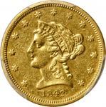 1842 Liberty Head Quarter Eagle. AU Details--Cleaned (PCGS).