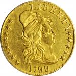 1799 Capped Bust Right Half Eagle. BD-6. Rarity-5. Small Reverse Stars. AU Details--Repaired (PCGS).