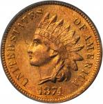 1874 Indian Cent. MS-65 RD (PCGS). CAC. OGH.
