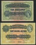 The East African Currency Board, 20, 10, 5, 1 Shillings, 1943 - 1955, Nairobi, 20 prefix F17, blue-b