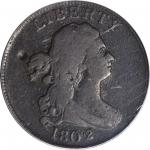 1802/0 Draped Bust Half Cent. C-1. Rarity-5+. Reverse of 1800. VG-8 (PCGS).
